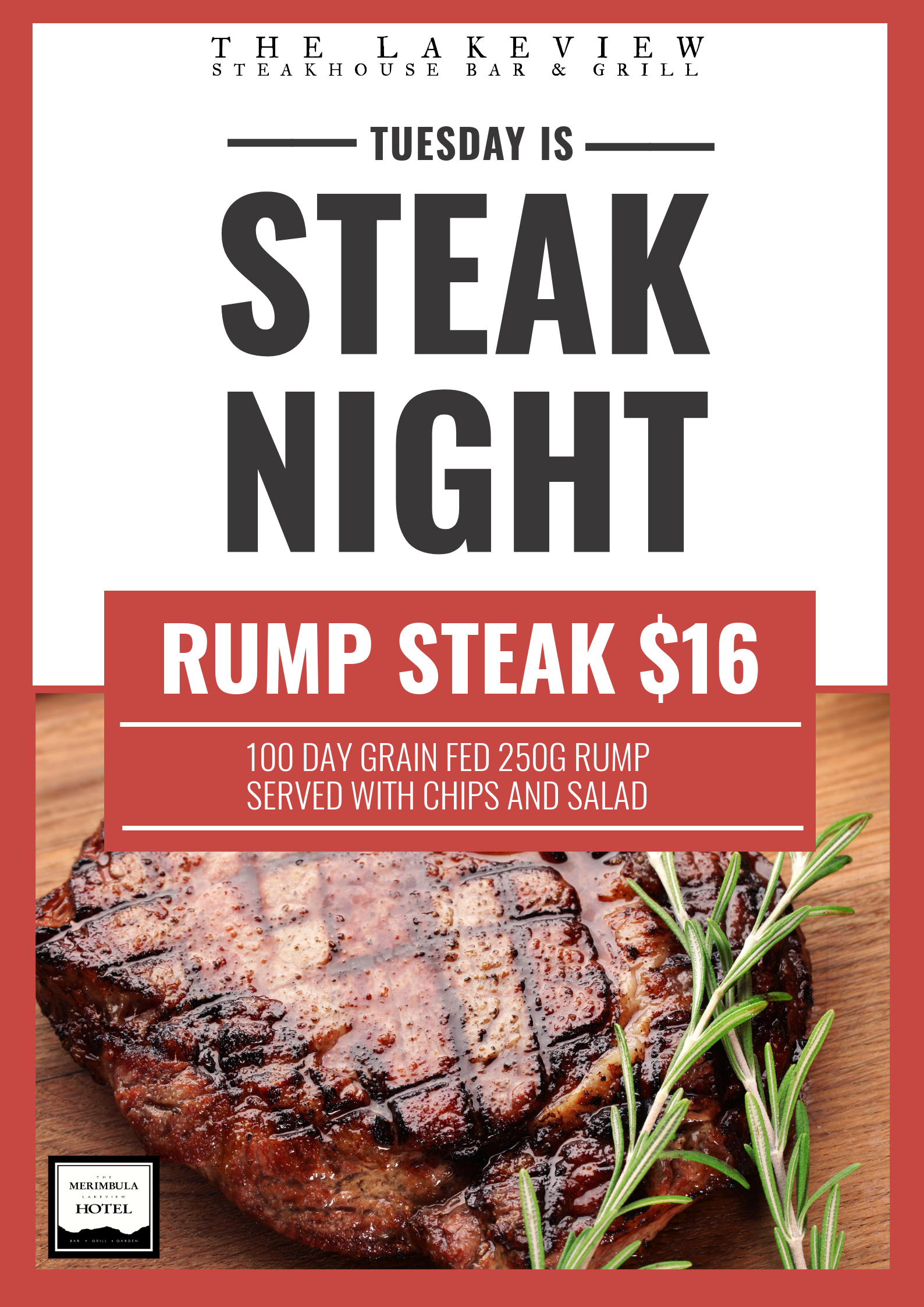 Lakeview hotel steak night