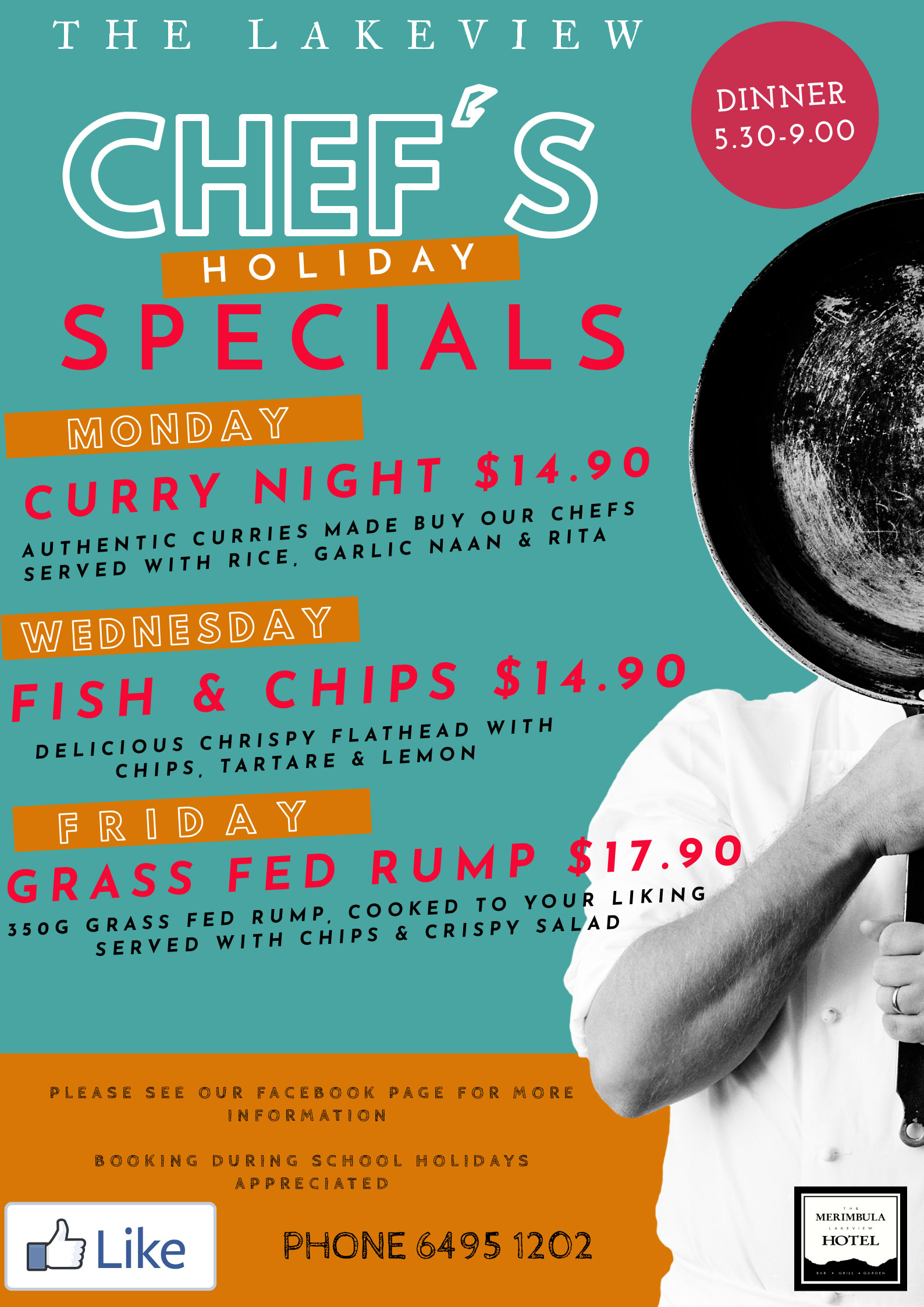 chef's holiday specials merimbula lakeview hotel