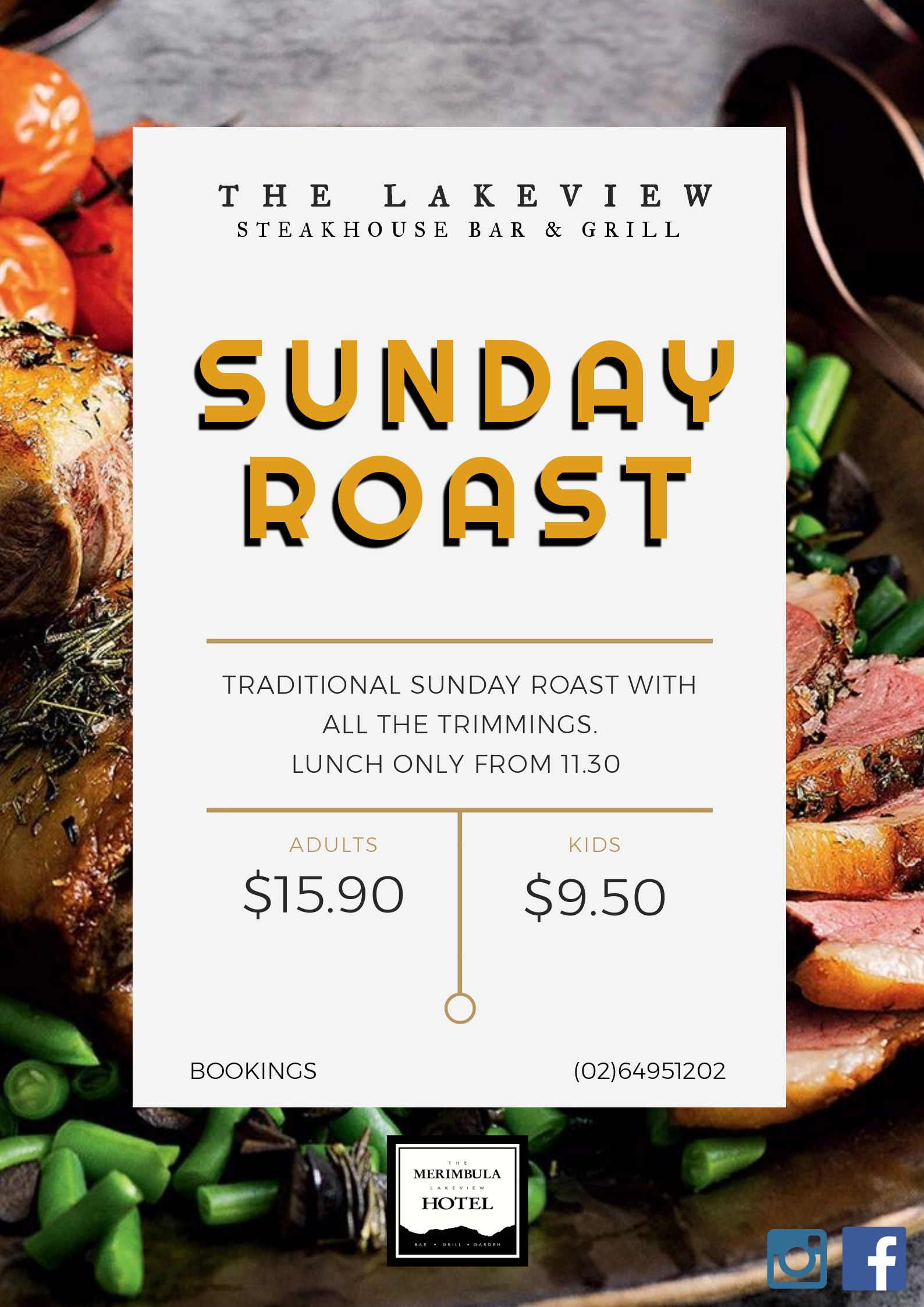 sunday roast merimbula lakeview hotel