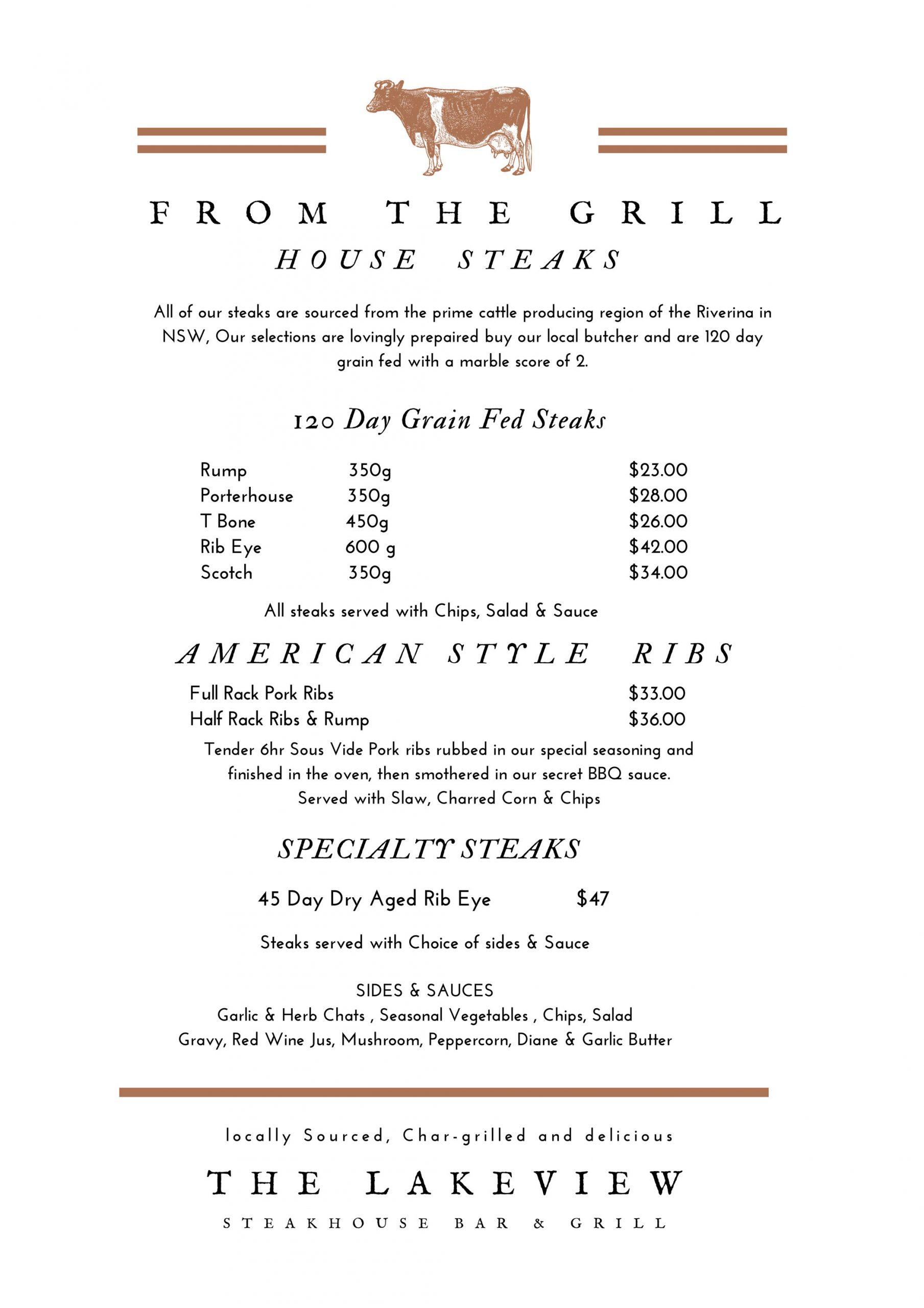 steak menu Merimbula Lakeview Hotel
