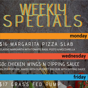 weekly specials at the merimbjula lakeview