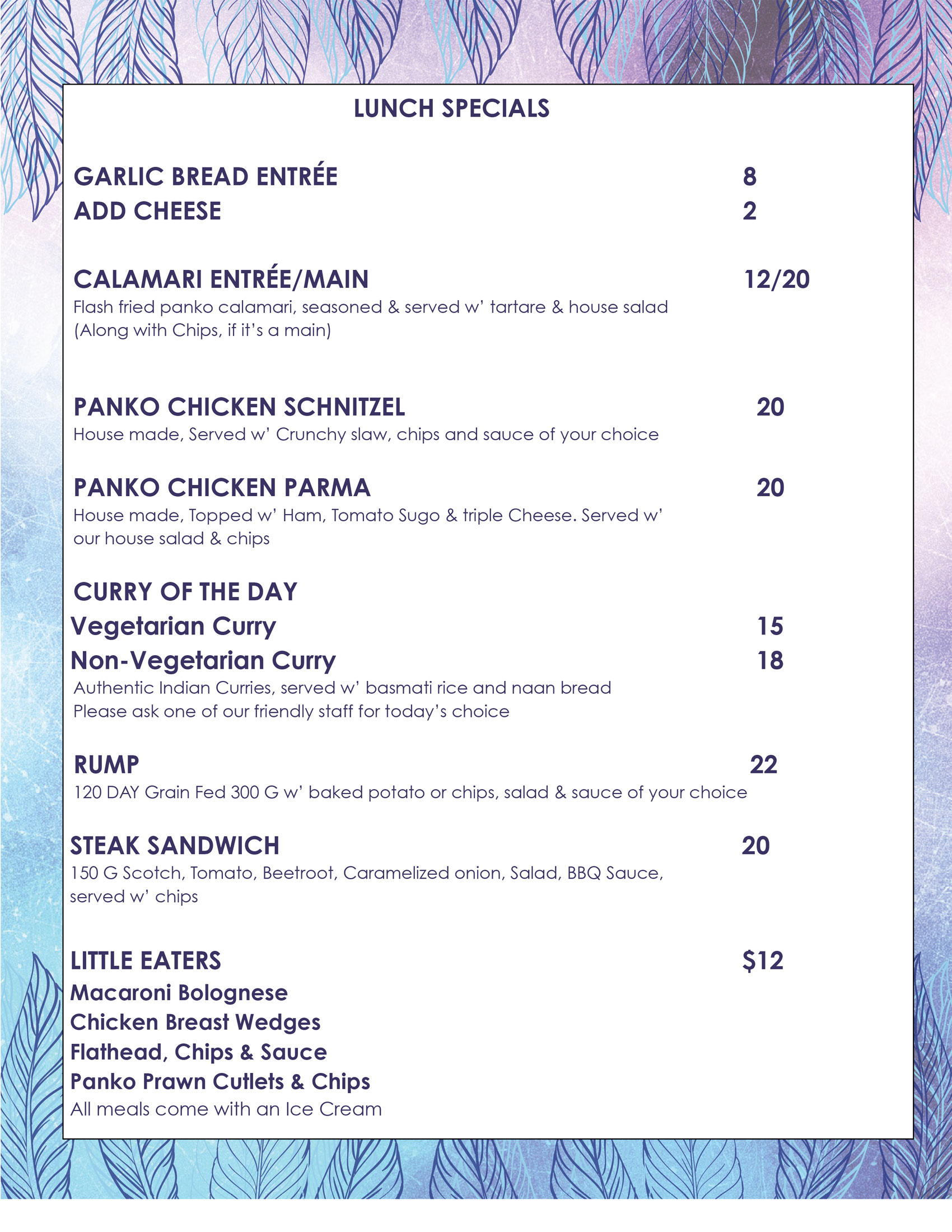 lunch specials at the Merimbula Lakeview